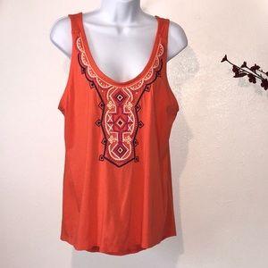 Merona Embroidered Orange Sleeveless Tank Top